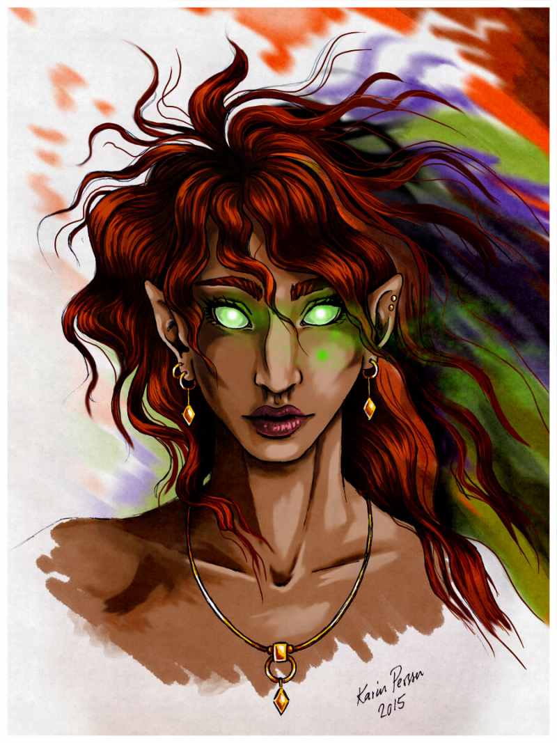 Imaginary Karin - green-eyed elf digital drawing
