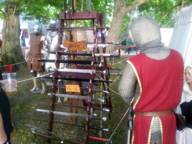 swords and armour for sale at medieval fair