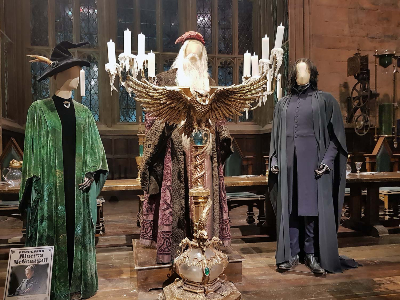McGonagall, Dumbledore and Snape costumes at the Harry Potter Studio Tour