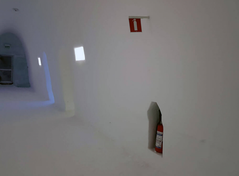 Fire extinguisher inside the Icehotel
