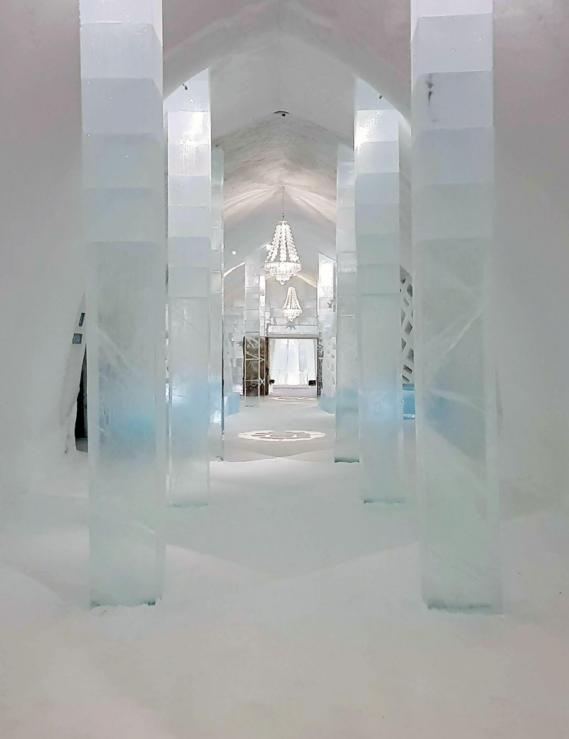 Main hall inside the Icehotel