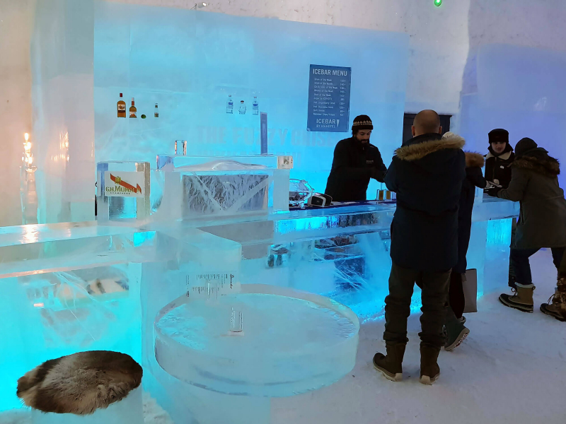The bar inside Icebar at Icehotel Sweden