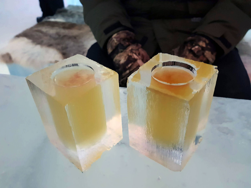 Glasses made from ice at Icebar by Icehotel Sweden