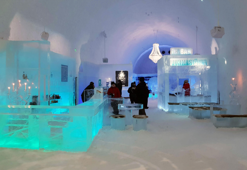 Inside the Icebar at Icehotel Sweden