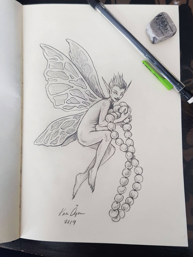 graphite drawing of a fairy holding a pearl necklace