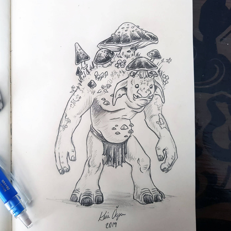 graphite drawing of a troll with mushrooms