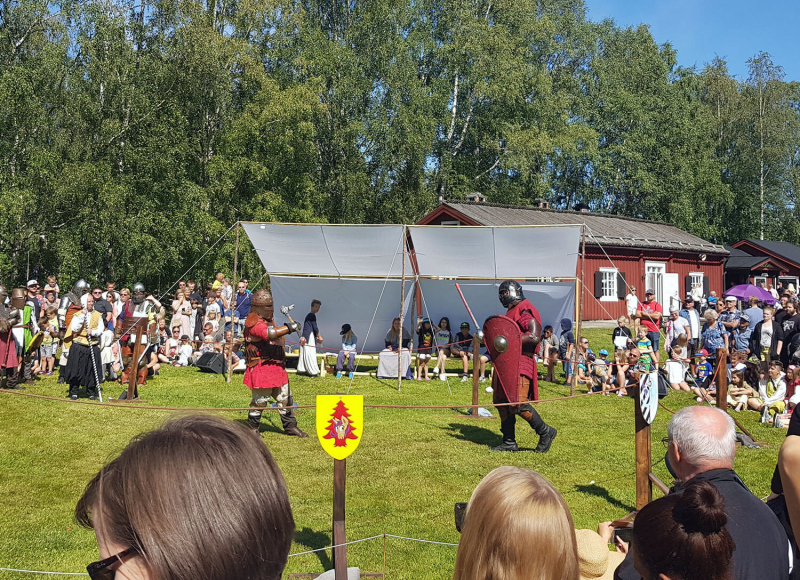 Medieval duel with sword and shield
