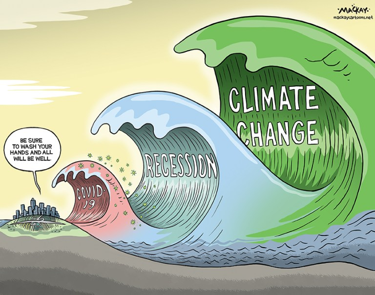 Cartoon showing COVID-19, recession and climate change as waves approaching land