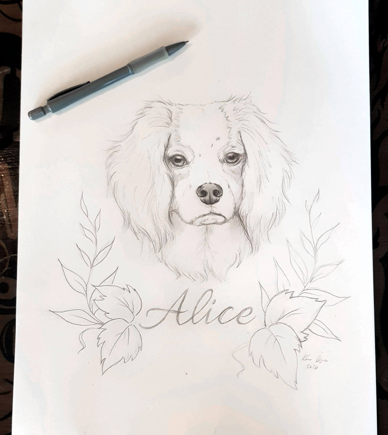 Pencil sketch of a dog head and leaves