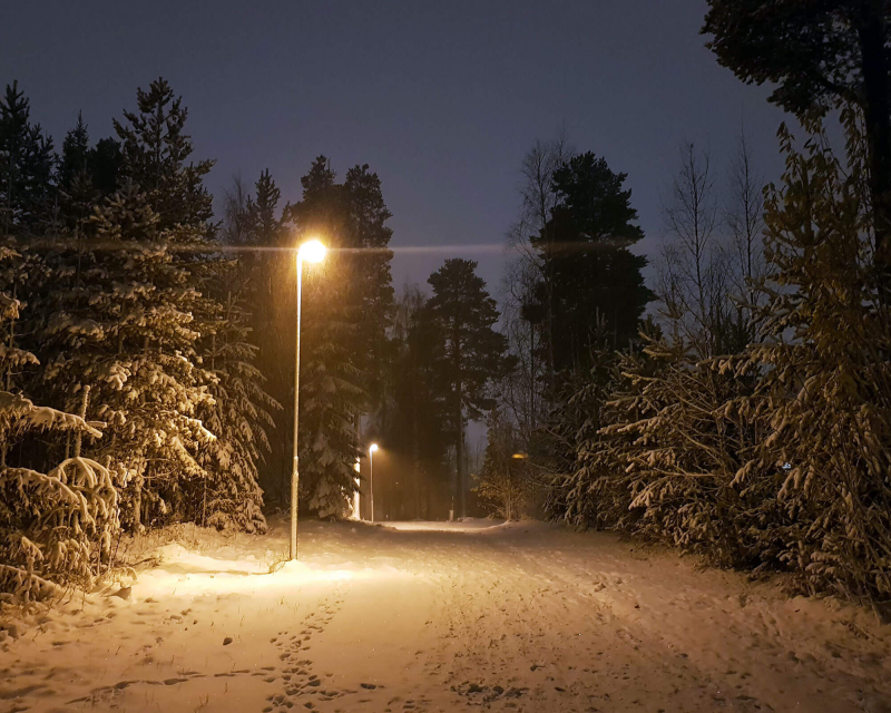 Snowy road leading through forest. It's dark and the road is lit with a lamp post.