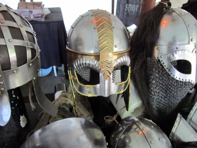 medieval helmets on display