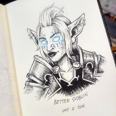 Imaginary Karin - inktober drawlloween wow goblin