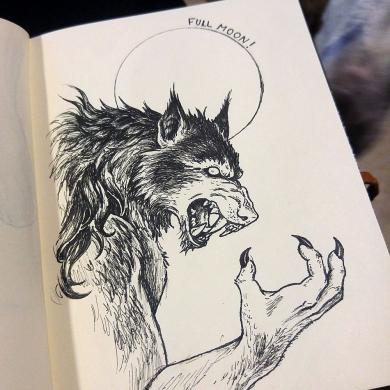 Imaginary Karin - inktober drawlloween werewolf