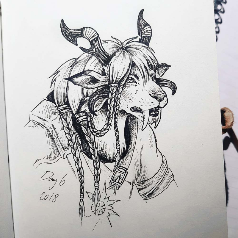 Charr cat people from Guild Wars 2 drawing