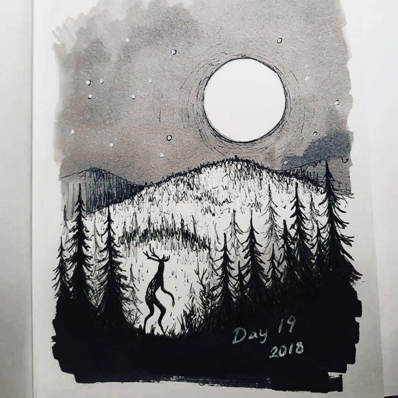 moonlit forest monster drawing