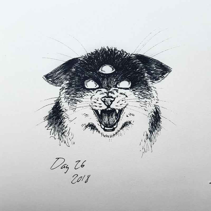 three-eyed cat drawing