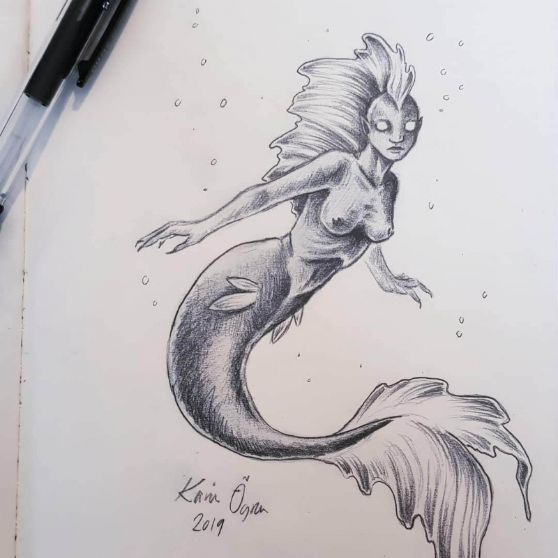 graphite drawing of a mermaid