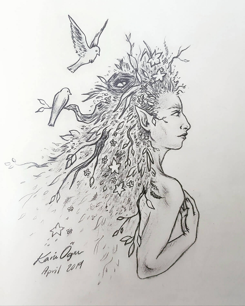 graphite drawing of woman with leaves for hair