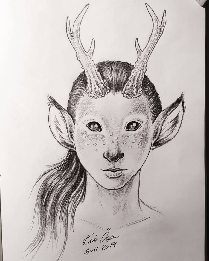 graphite drawing of deer boy