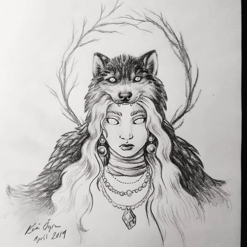 graphite drawing of woman with wolf headdress