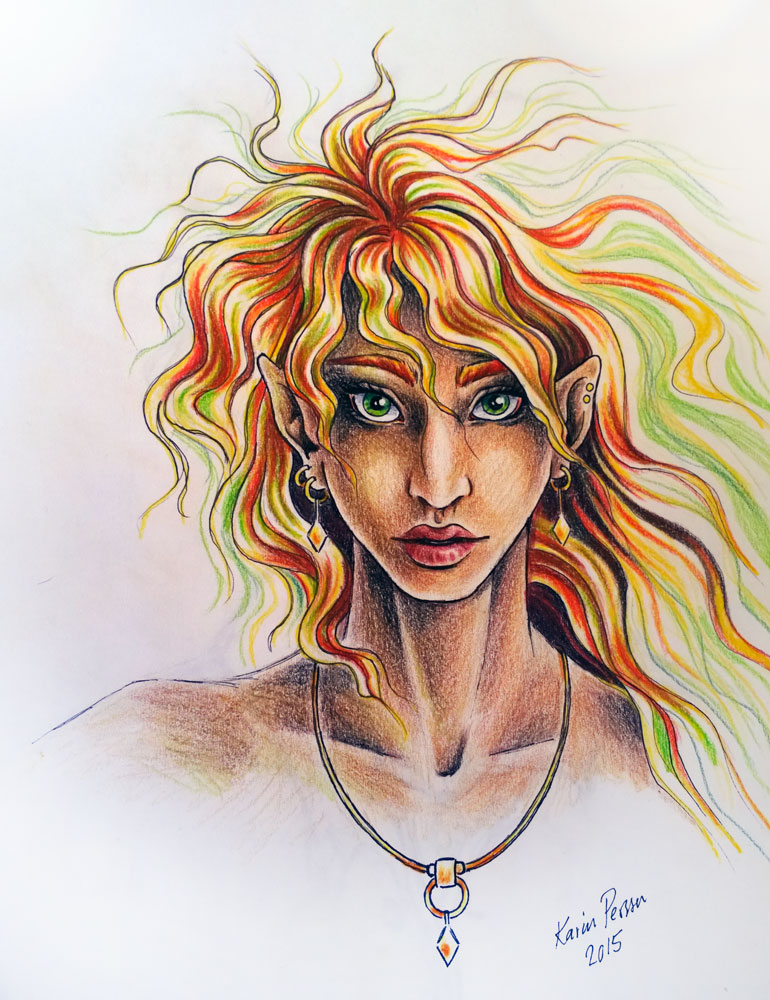Imaginary Karin - green-eyed elf traditional drawing
