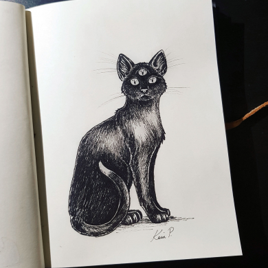 Inktober 2017 - three eyed cat
