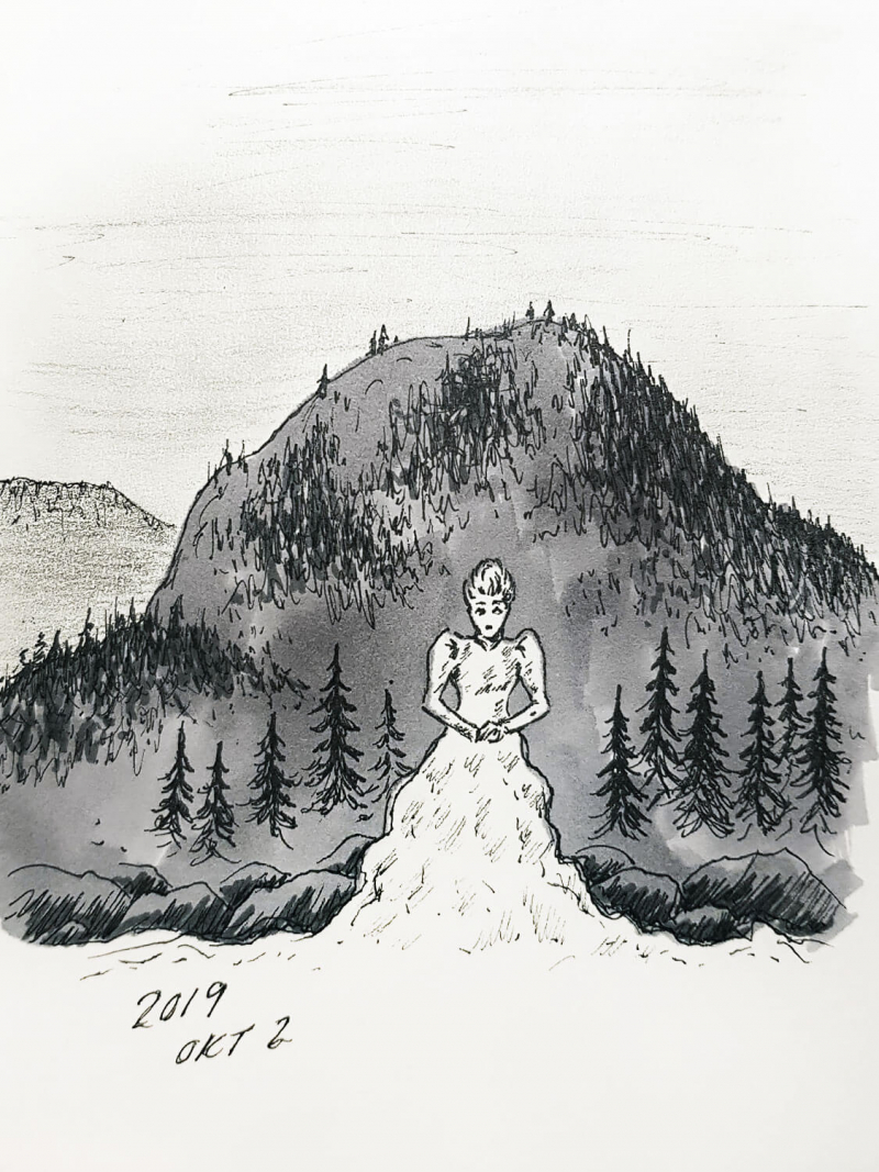Drawing of a lady in front of a mountain