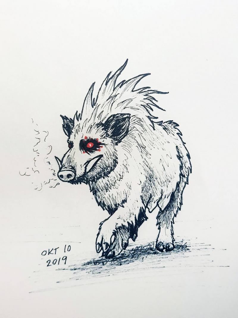 drawing of a boar with red eyes