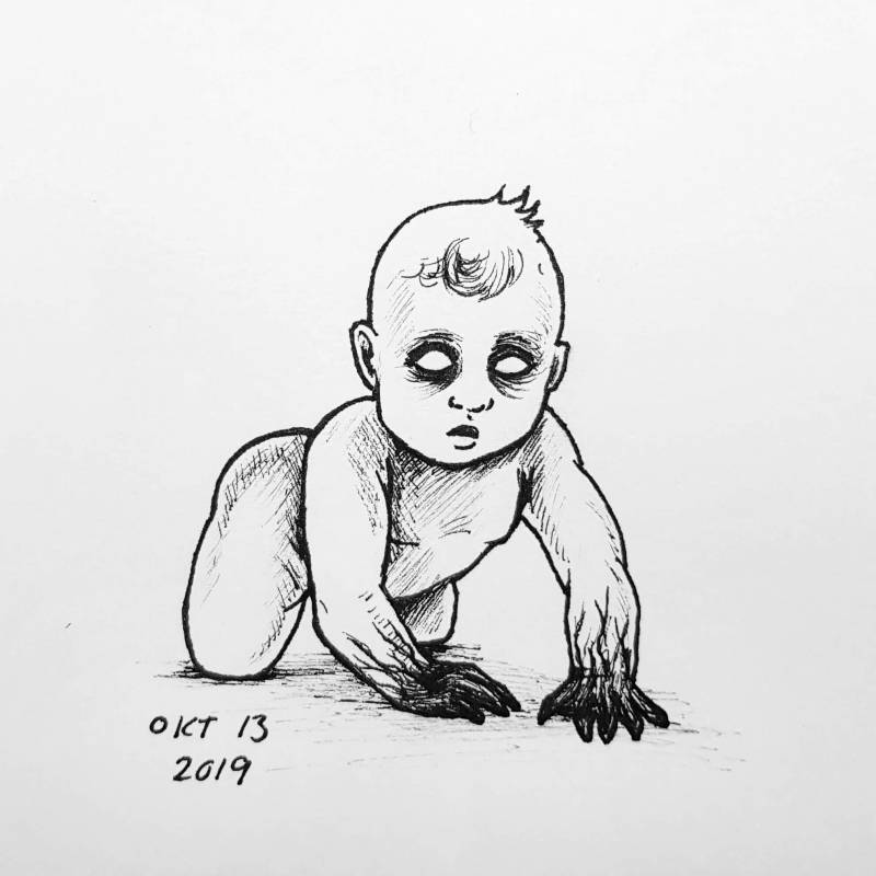 A drawing of a ghost child