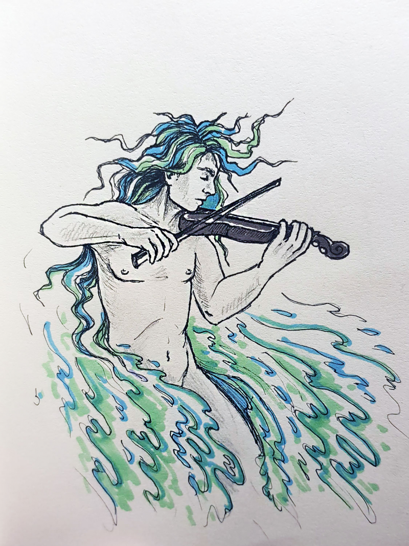 drawing of a man in water playing a violin