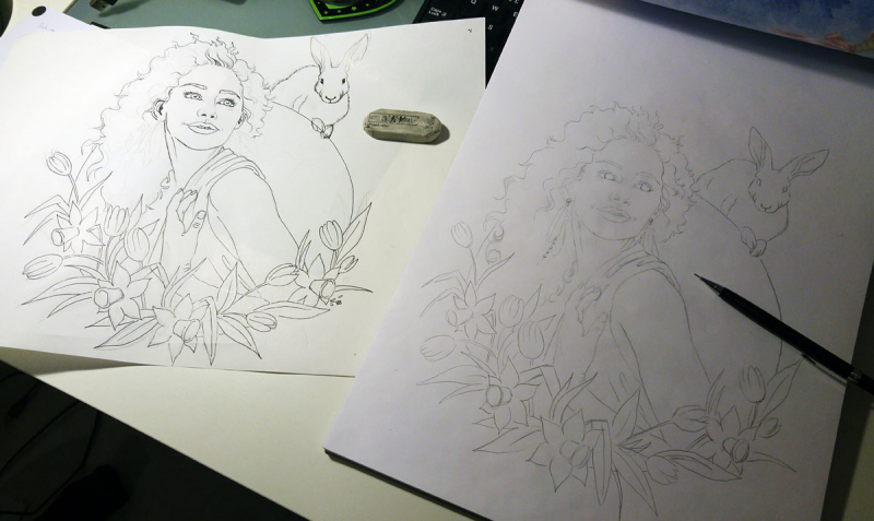Imaginary Karin - spring goddess Ostara wip drawing