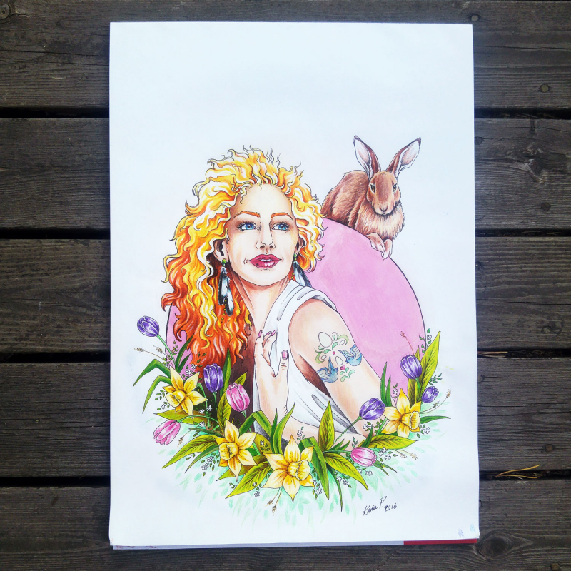 Imaginary Karin - spring goddess Ostara drawing