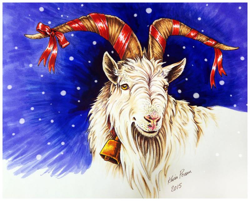 Imaginary Karin - yule goat drawing